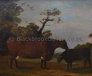 Cow & Calf in a Landscape