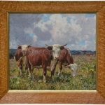 Herefords In A Meadow By William Gunning King
