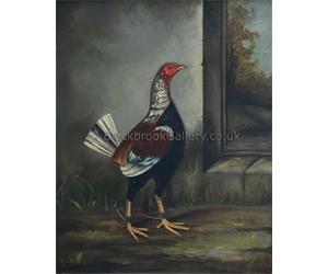 Hilton Pratt, Old English Game Cock, Antique Animal Painting