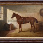 Horse in a stable with sleeping cat by Edwin Brown antique animal painting