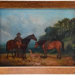 Portrait of William Crowther with his sporting ponies & greyhounds by richard Whitford