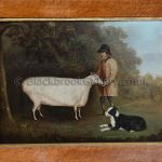 Shepherd with his prize Cotswold Ram & Sheepdog by John Miles