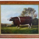 Shorthorn Heifer in a Landscape, Naive Animal Painting Signed By A. M. Gauci
