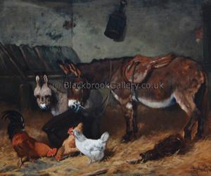 Stable Companions, Antique Animal Portrait By Arthur Batt