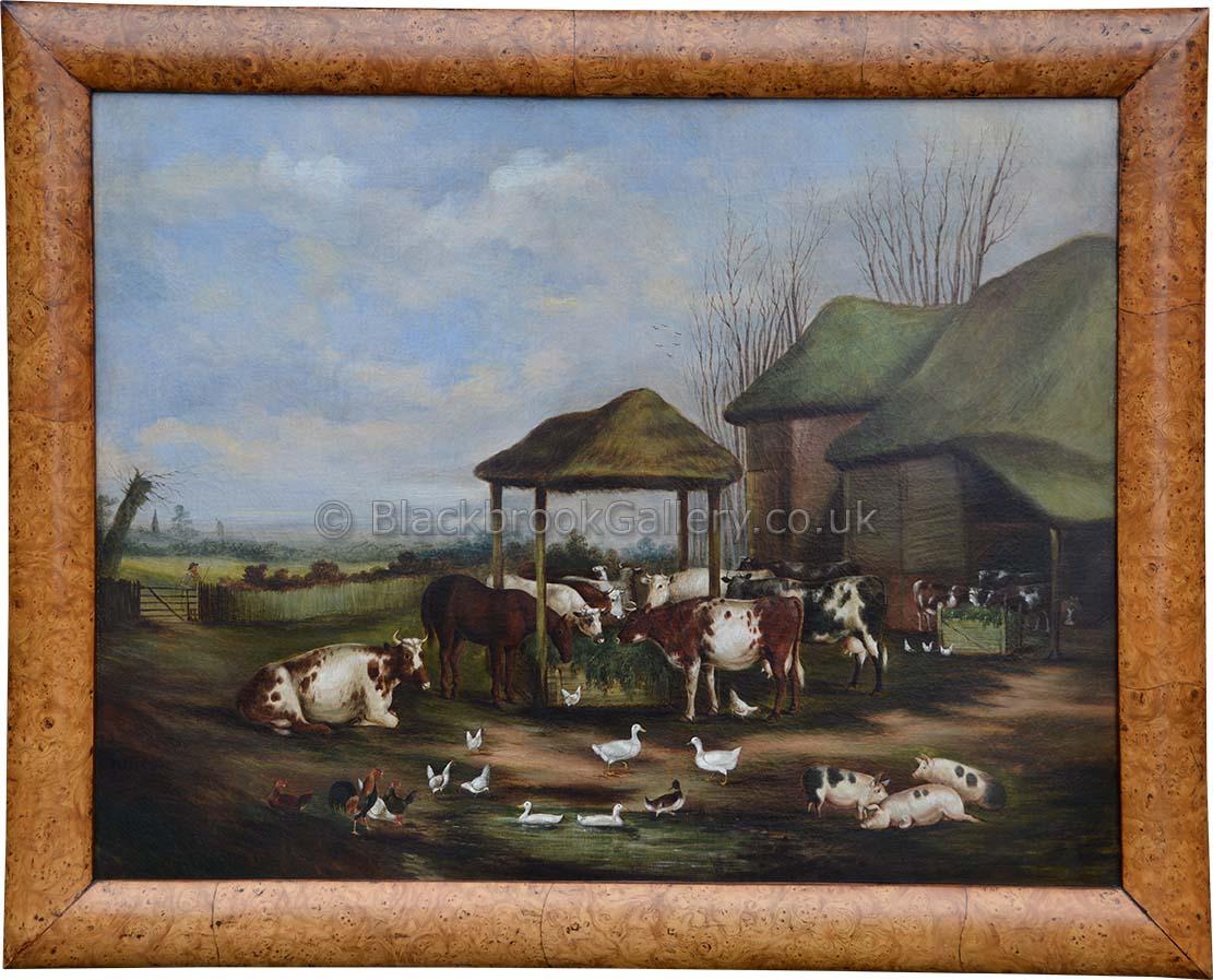 Spectacular farmyard scene antique animal portrait