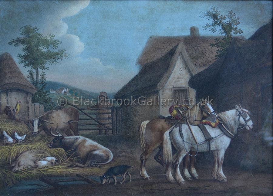 Farm yard scene by Benjamin Zobel antique animal paintings