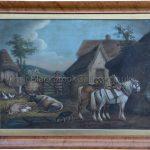 Farm yard scene by Benjamin Zobel antique animal portrait