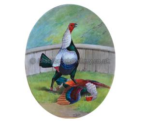 Minton Cockfight Antique Plaque