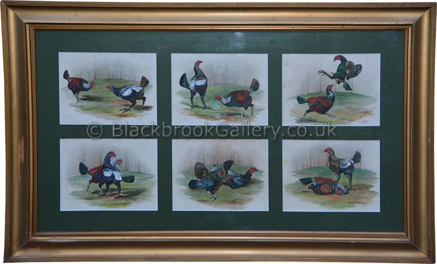 Set of six watercolours of game birds by J.E. Dean antique animal portrait