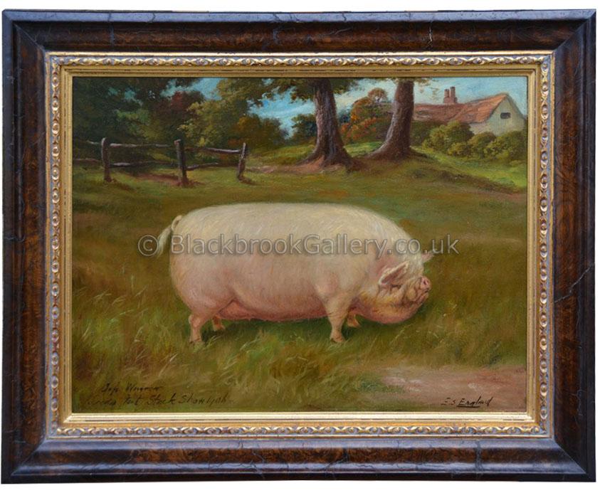 Prize middlewhite gilt by E.S. England antique animal portrait