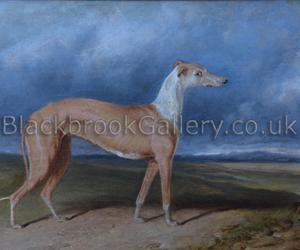Stella greyhound by C. Hancock naive animal paintings