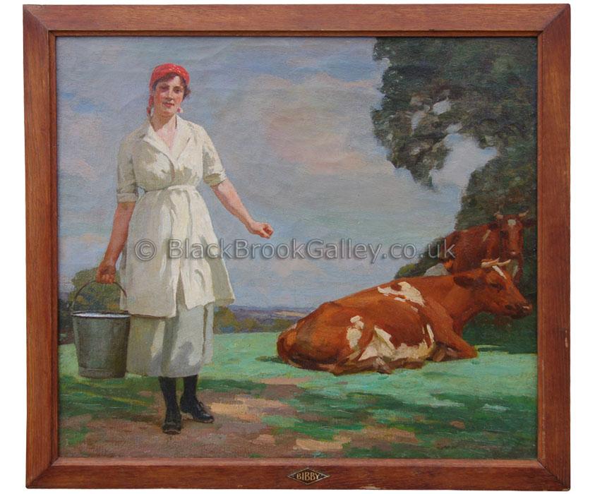 Dairymaid by William Gunning King antique animal portrait