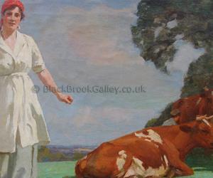 Dairymaid by William Gunning King naive animal paintings