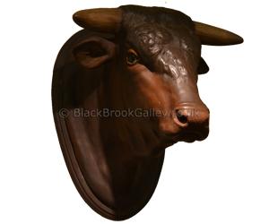 19th century terracotta bull's head naive animal creations