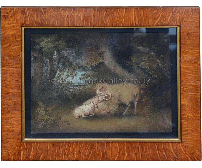 A set of four 'Regency' Sand Pictures Un-signed Antique animal portrait