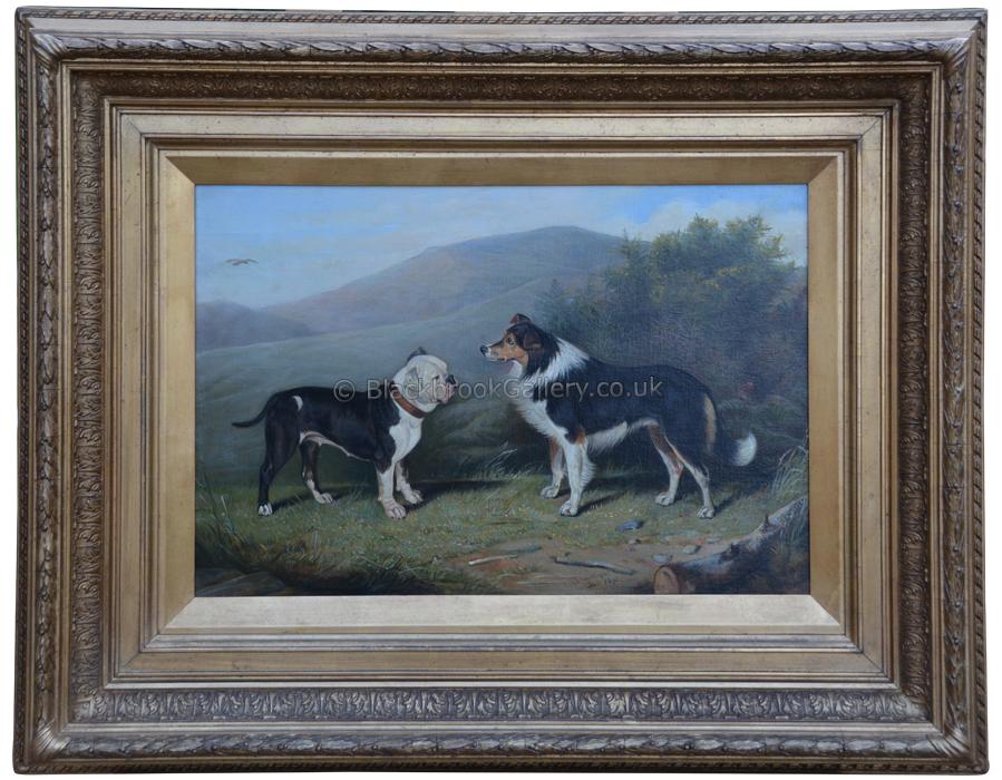 Best Friends By Edward Lloyd, Antique Animal Painting, Framed