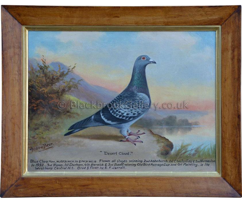 Desert Cloud Blue Cheq. Hen by Andrew W. Beer antique-animal-portrait