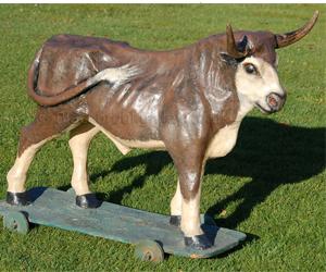 Folk art toy bull naive animal creations