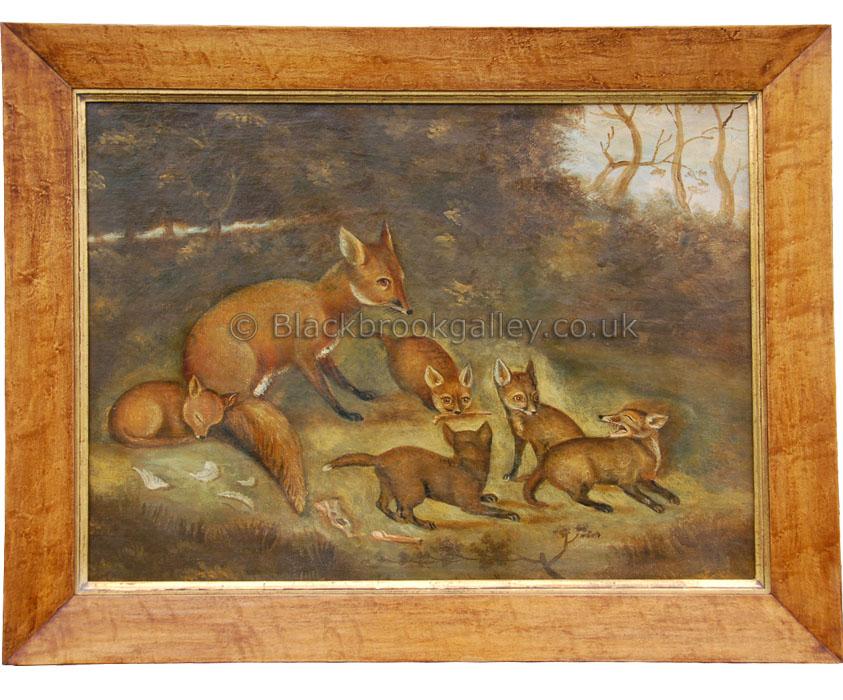Vixen and cub's by English School Antique animal portrait