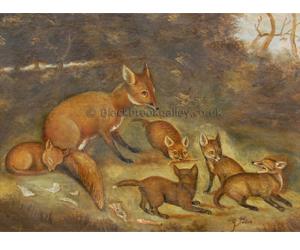 Vixen and cub's by English School Naive animal paintings