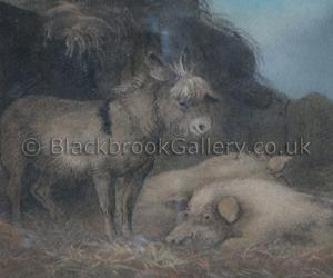 Donkey & Companion by Benjamin Zobel naive animal paintings