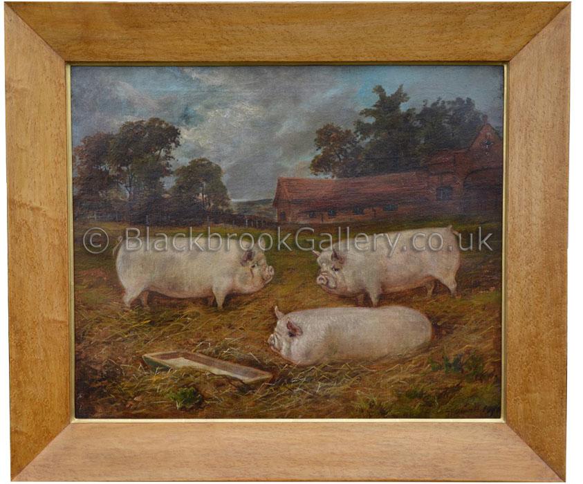 Middlewhite trio by E. S. England antique animal portrait