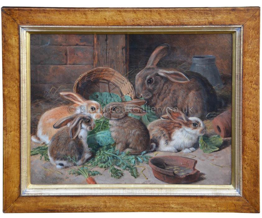 Rabbit Family by Alfred Richardson Baber antique animal portrait