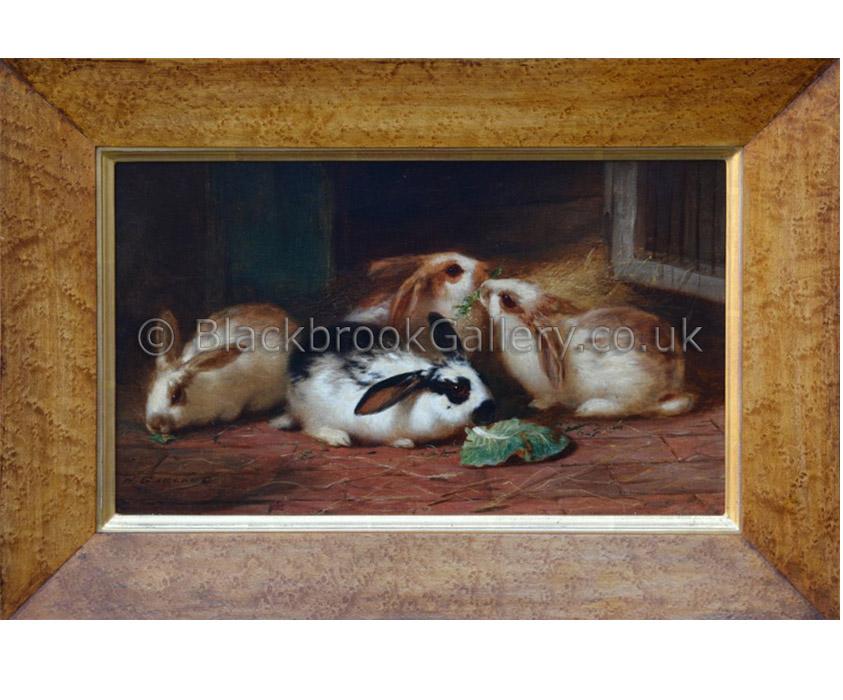 Rabbits by H. Garland antique animal portrait
