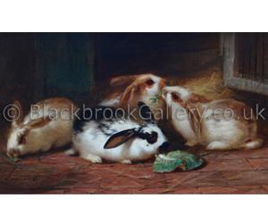 Rabbits by H. Garland naive animal paintings