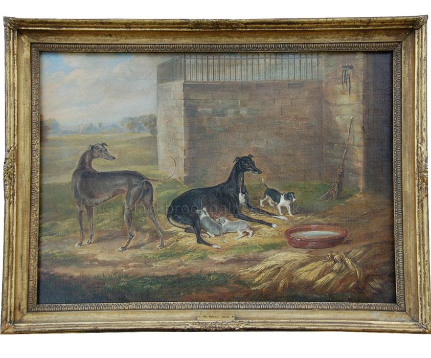 Greyhound bitch and puppies by William Webb antique animal portrait