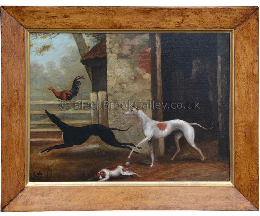 Greyhounds in farm yard by Samuel Spode antique animal portrait
