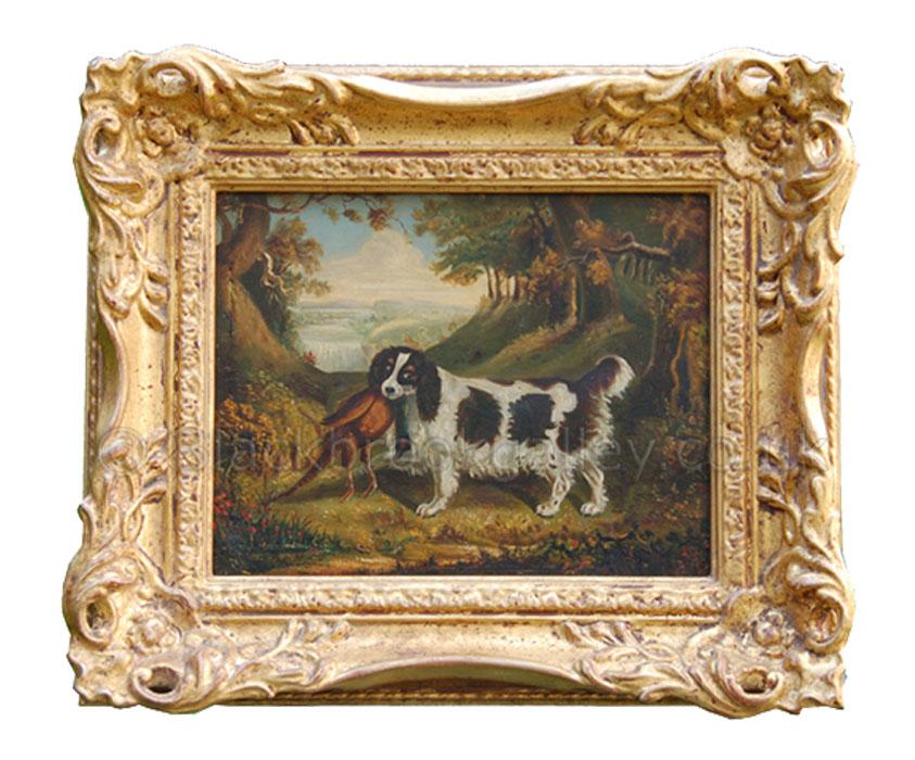 Springer spaniel with a cock pheasant antique animal portrait