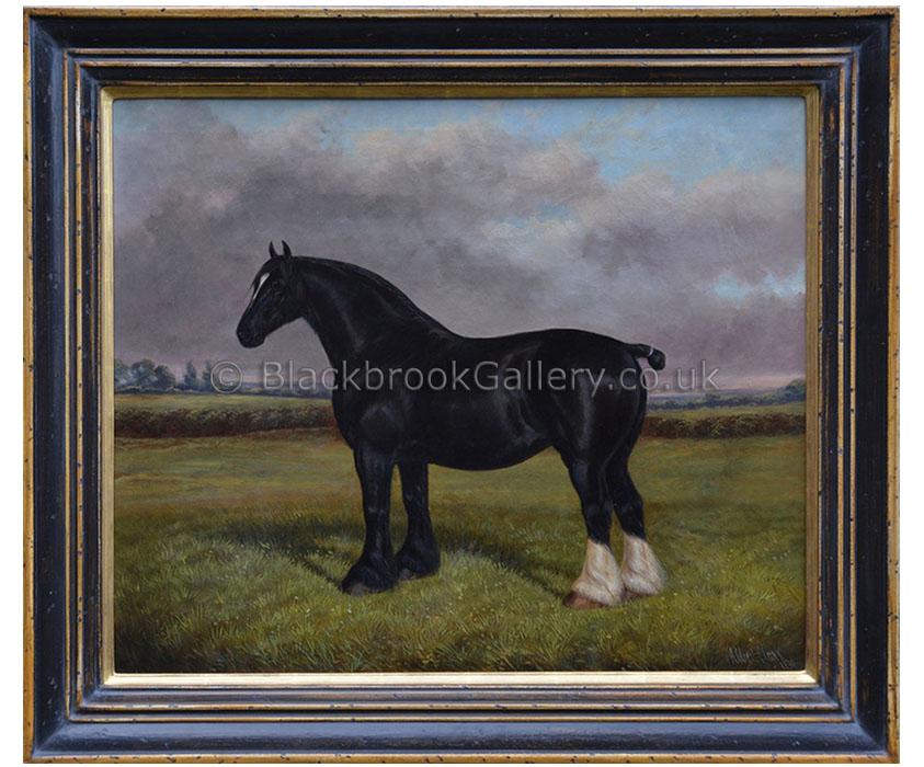 Black shire by Albert Clark antique animal portrait