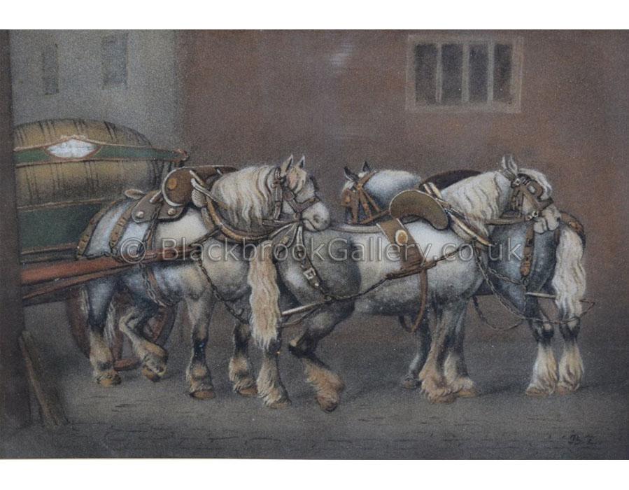 Grey dray horses by Benjamin Zobel antique animal paintings