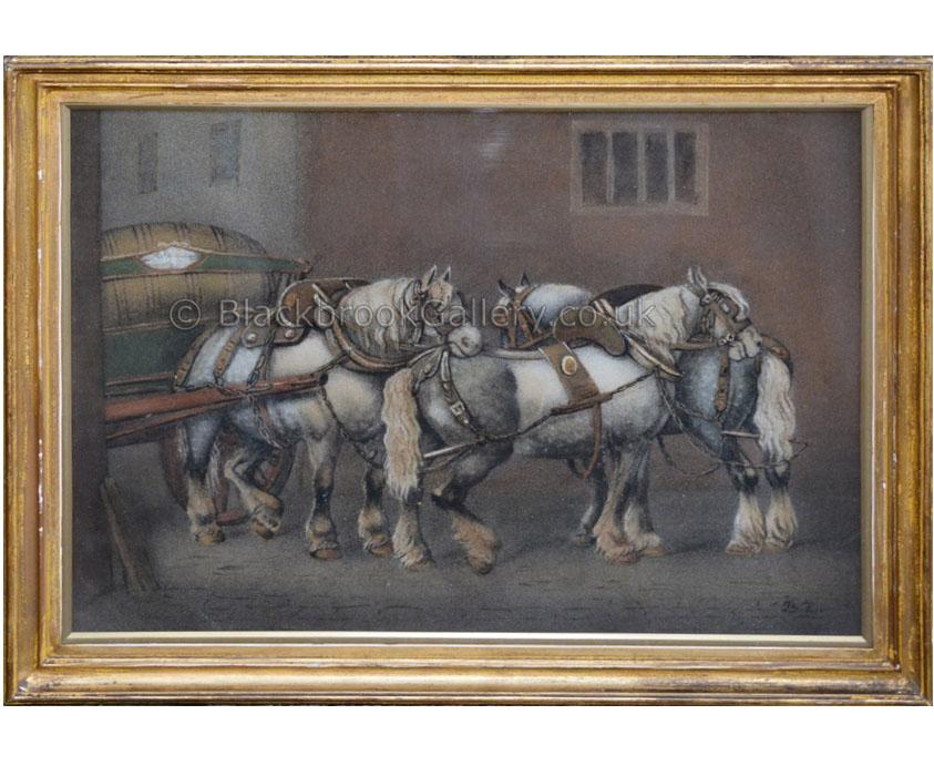 Grey dray horses by Benjamin Zobel antique animal portrait