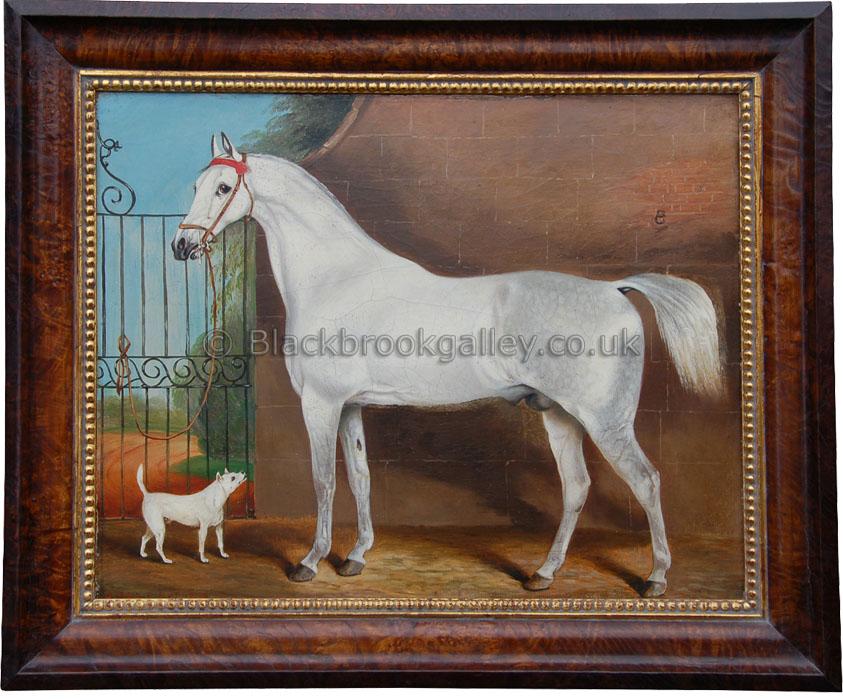 Grey horse with companion by John Vine antique animal portrait